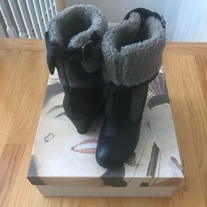 Leather and shearling Italian boots sz 6